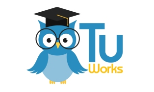 Blue Owl with partly open wings, glasses, tricorner hat and TuWorks text image logo